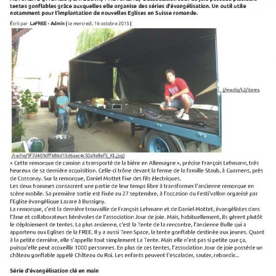 Article Vivre Octobre 2013 page 1